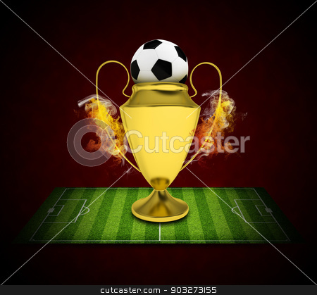 Soccer Cup and ball in colored smoke stock photo, Soccer Cup and ball in colored smoke. Sport concept by cherezoff