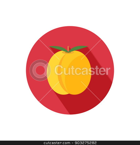 Apricot icon stock vector clipart, Apricot icon with shadow in flat design by robuart