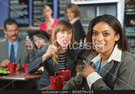 Lady Pointing at Angry Person stock photo, Smiling business woman pointing at angry person in cafe by Scott Griessel