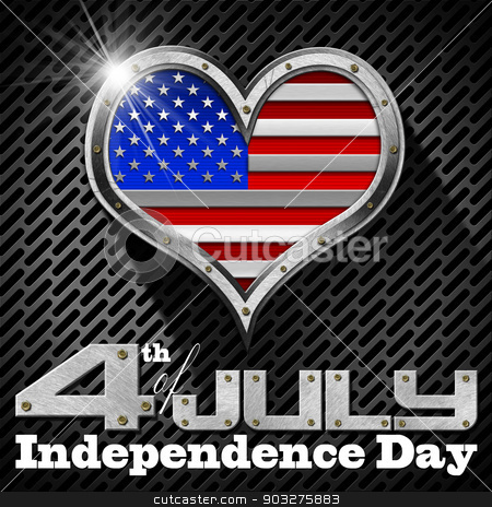 4th of July - Independence Day stock photo, Metal porthole heart shape with US flag interior, on black and gray dark grid with phrase