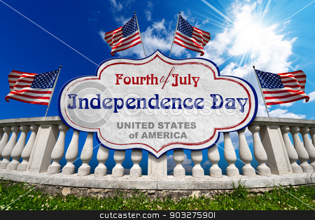 Fourth of July  - Independence Day stock photo, White stone balustrade with US flags, label and phrase: Fourth of July Independence Day - United States of America by catalby