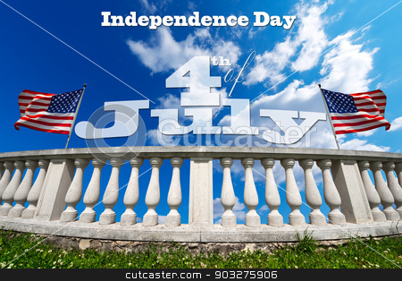 Independence Day - 4th of July stock photo, White stone balustrade with two US flags on blue sky with clouds and phrase