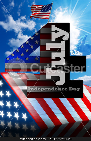 Independence Day - July 4 stock photo, US flags on blue sky with number 4 and written July - concept of Independence Day - July 4th by catalby