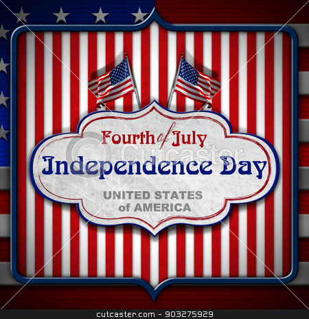 Vintage Fourth of July Independence Day stock photo, Vintage background with US flags, label and phrase: Fourth of July Independence Day - United States of America by catalby