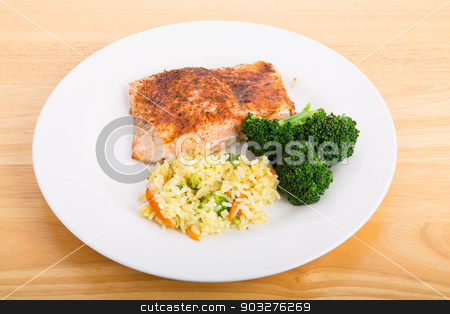 Baked Salmon with Broccoli and Vegetable Rice stock photo, Baked Salmon Fillet with Steamed Broccoli and Rice Pilaf by Darryl Brooks