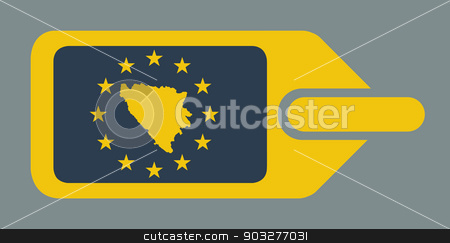Bosnia and Herzegovina European luggage label stock photo, Bosnia and Herzegovina European travel luggage label or tag in flat web design colors. by Martin Crowdy
