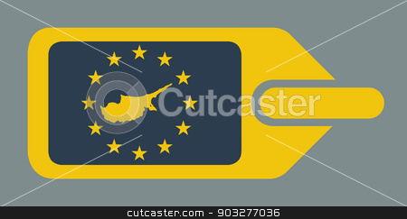 Cyprus European luggage label stock photo, Cyprus European travel luggage label or tag in flat web design colors. by Martin Crowdy