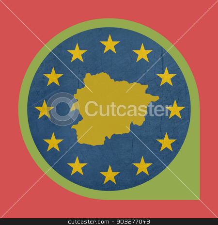 European Union Andorra marker pin stock photo, European Union Andorra marker pin isolated on white background. by Martin Crowdy