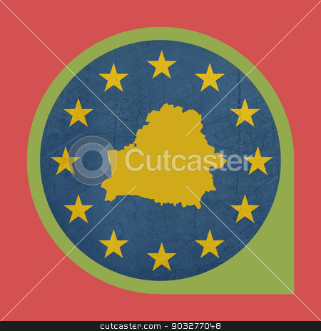 European Union Belarus marker pin stock photo, European Union Belarus marker pin isolated on white background. by Martin Crowdy