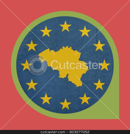 European Union Belgium marker pin stock photo, European Union Belgium marker pin isolated on white background. by Martin Crowdy