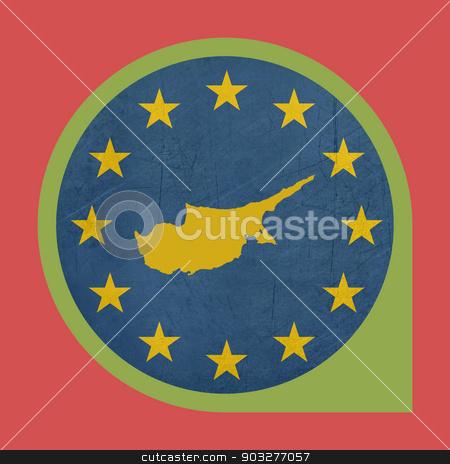 European Union Cyprus marker button stock photo, European Union Cyprus button isolated on white background. by Martin Crowdy