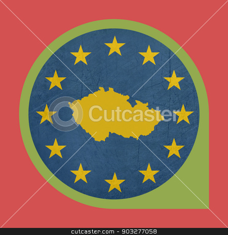 European Union Czech Republic marker button stock photo, European Union Czech Republic button isolated on white background. by Martin Crowdy