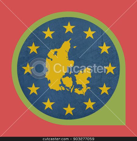European Union Denmark marker button stock photo, European Union Denmark button isolated on white background. by Martin Crowdy