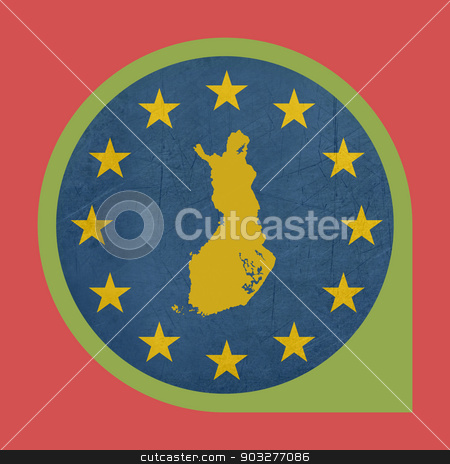 European Union Finland marker pin button stock photo, European Union Finland marker pin button isolated on white background. by Martin Crowdy