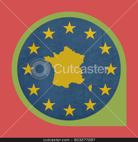 European Union France marker pin button stock photo, European Union France marker pin button isolated on white background. by Martin Crowdy