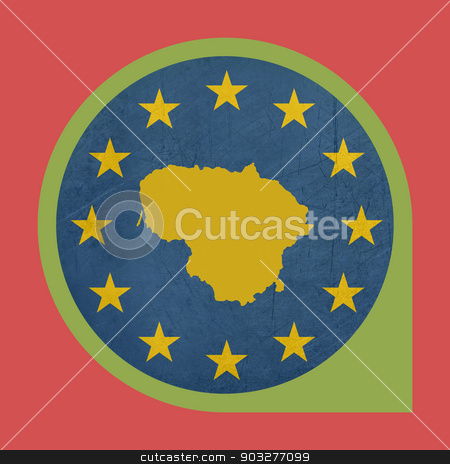 European Union Lithuania marker button stock photo, European Union Lithuania marker button isolated on white background. by Martin Crowdy