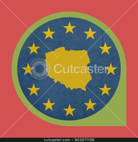 European Union Poland marker button stock photo, European Union Poland marker button isolated on white background. by Martin Crowdy