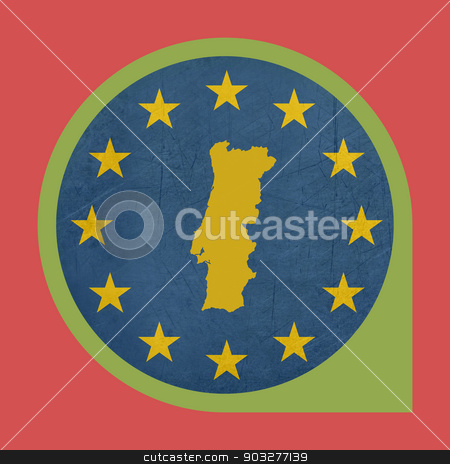European Union Portugal marker button stock photo, European Union Portugal marker button isolated on white background. by Martin Crowdy