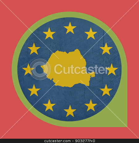 European Union Romania marker button stock photo, European Union Romania marker button isolated on white background. by Martin Crowdy