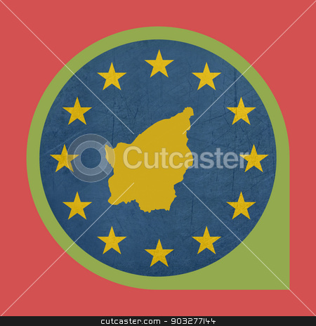 European Union San Marino marker button stock photo, European Union San Marino marker button isolated on white background. by Martin Crowdy