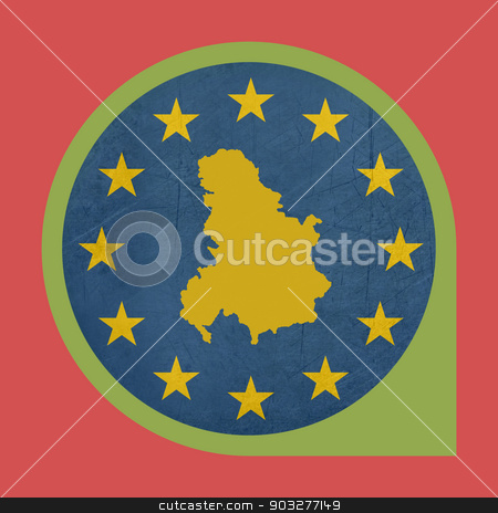 European Union Serbia and Montenegro marker button stock photo, European Union Serbia and Montenegro marker button isolated on white background. by Martin Crowdy