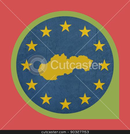 European Union Slovakia marker button stock photo, European Union Slovakia marker button isolated on white background. by Martin Crowdy