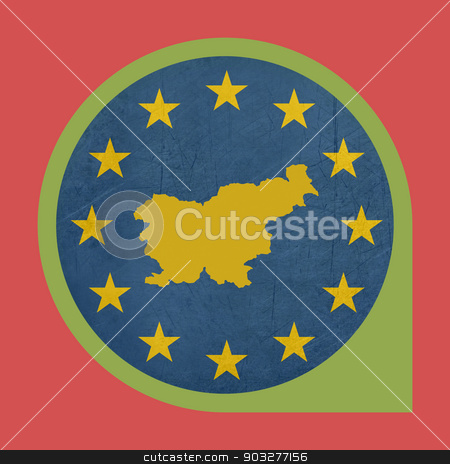 European Union Slovenia marker button stock photo, European Union Slovenia marker button isolated on white background. by Martin Crowdy