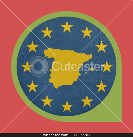 European Union Spain marker button stock photo, European Union Spain marker button isolated on white background. by Martin Crowdy