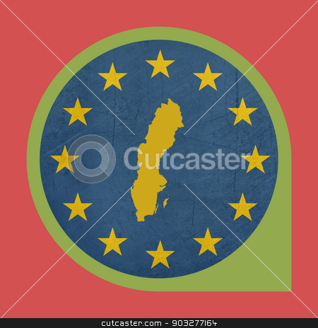 European Union Sweden marker button stock photo, European Union Sweden marker button isolated on white background. by Martin Crowdy