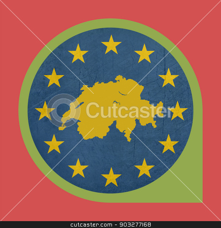 European Union Switzerland pin marker button stock photo, European Union Switzerland button isolated on white background. by Martin Crowdy
