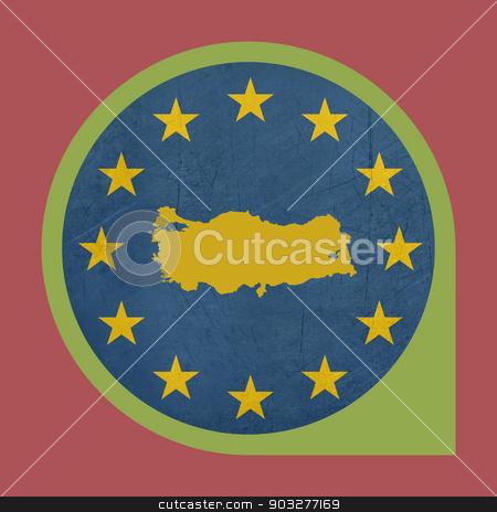 European Union Turkey marker pin stock photo, European Union Turkey button isolated on white background. by Martin Crowdy