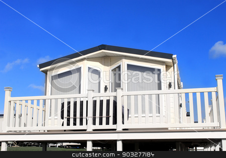 Exterior of caravan on a trailer park stock photo, Exterior of caravan on a trailer park in Filey, England. by Martin Crowdy
