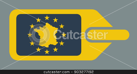 France European luggage label stock photo, France European travel luggage label or tag in flat web design colors. by Martin Crowdy