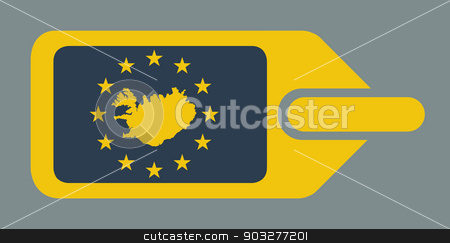 Iceland European luggage label stock photo, Iceland European travel luggage label or tag in flat web design colors. by Martin Crowdy