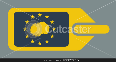 Macedonia European luggage label stock photo, Macedonia European travel luggage label or tag in flat web design colors. by Martin Crowdy