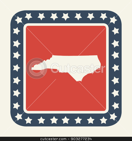 North Carolina American state button stock photo, North Carolina state button on American flag in flat web design style, isolated on white background. by Martin Crowdy