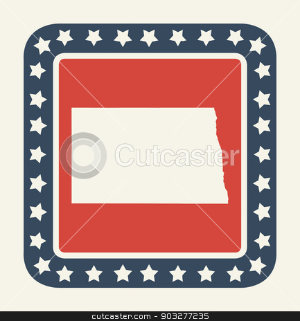 North Dakota American state button stock photo, North Dakota state button on American flag in flat web design style, isolated on white background. by Martin Crowdy