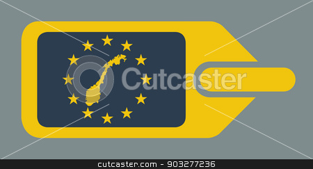Norway European luggage label stock photo, Norway European travel luggage label or tag in flat web design colors. by Martin Crowdy