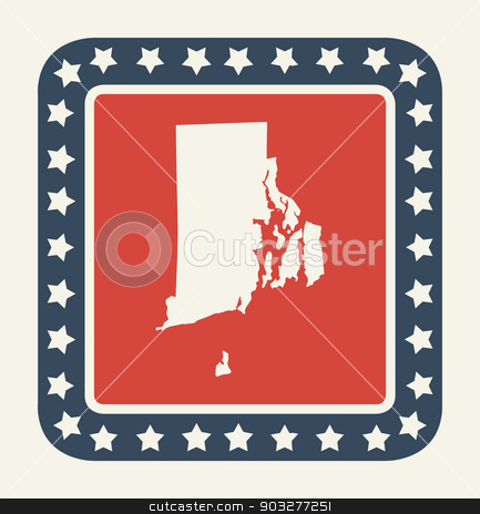 Rhode Island American state button stock photo, Rhode Island state button on American flag in flat web design style, isolated on white background. by Martin Crowdy
