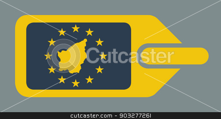 San Marino European luggage label stock photo, San Marino European travel luggage label or tag in flat web design colors. by Martin Crowdy