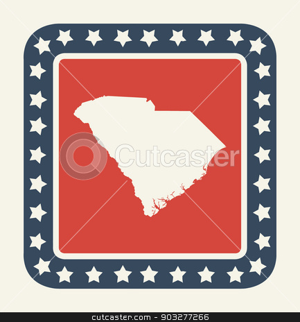 South Carolina American state button stock photo, South Carolina state button on American flag in flat web design style, isolated on white background. by Martin Crowdy