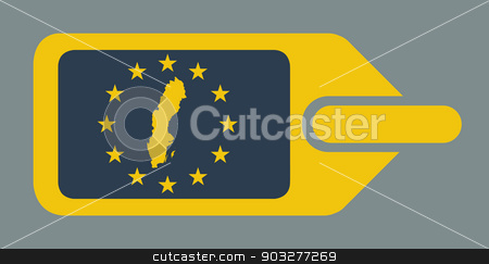 Sweden European luggage label stock photo, Sweden European travel luggage label or tag in flat web design colors. by Martin Crowdy
