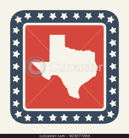 Texas American state button stock photo, Texas state button on American flag in flat web design style, isolated on white background. by Martin Crowdy