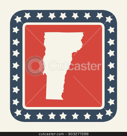 Vermont American state button stock photo, Vermont state button on American flag in flat web design style, isolated on white background. by Martin Crowdy