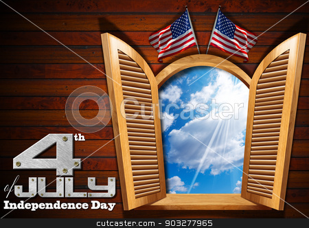4th of July - Independence Day stock photo, A open window on wooden wall with blue sky with clouds interior, two US flags and phrase: 4th of July - Independence Day by catalby