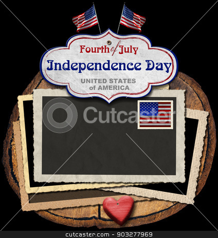 Vintage Fourth of July Independence Day stock photo, Vintage background with aged photo frames, postage stamp, US flags, label with phrase: Fourth of July Independence Day - United States of America  by catalby