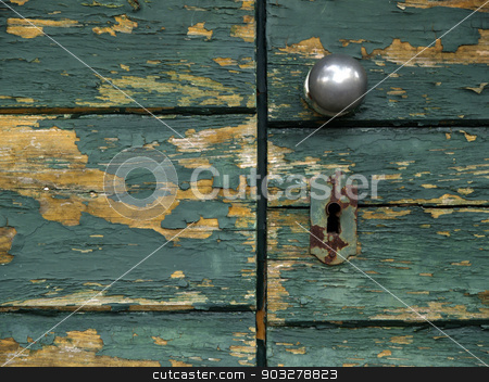 green door stock photo, green doors lock detail by shufu