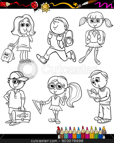 school kids group cartoon coloring book stock vector clipart, Coloring Book or Page Cartoon Illustration of Color and Black and White Primary School Students or Pupils Boys and Girls Characters Set for Children by Igor Zakowski