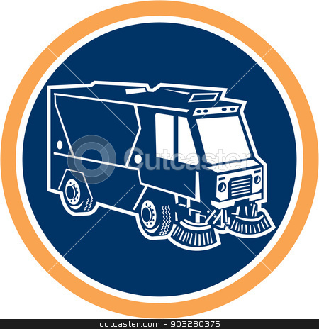 Street Cleaner Truck Circle Retro stock vector clipart, Illustration of a street cleaner truck sweeping cleaning from front set inside circle on isolated background done in retro style. by patrimonio