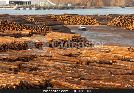 Large Timber Wood Log Lumber Processing Plant Riverside Columbia stock photo, Timber Wood Log Lumber Processing Plant Riverside Columbia River by Christopher Boswell